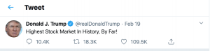 Trump tweet about the stock market