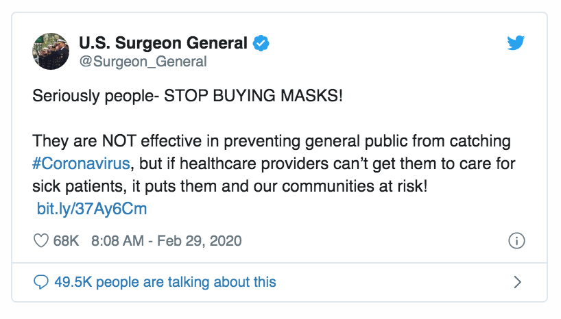 US SURGEON GENERAL Tweet Feb 29 2020