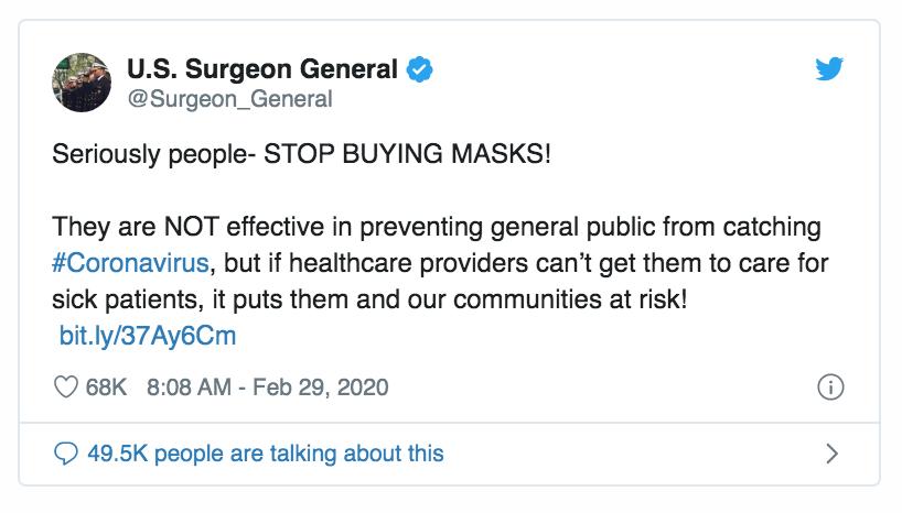 US SURGEON GENERAL Tweet Feb 29 2020