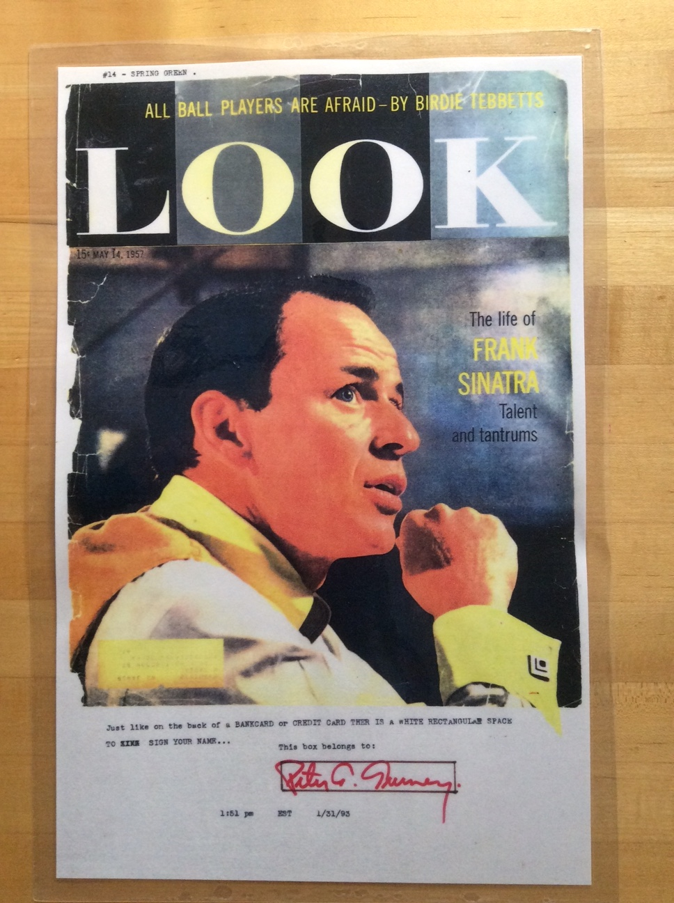Peter Tunney Original Art 'Frank Sinatra - Look Magazine' 1993
